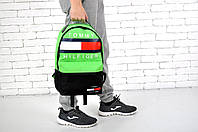Рюкзак городской модный стильный Tommy Hilfinger Classic, цвет черно-салатовый, фото 1