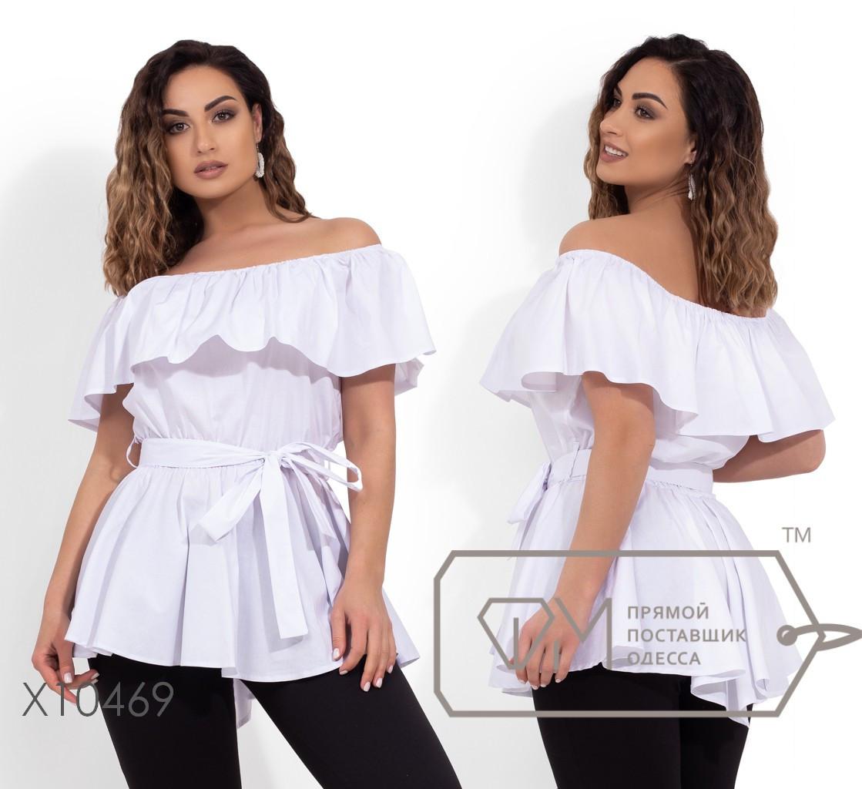 Коттоновая блуза с вырезом анжелика, резинкой на талии, под поясок X10469
