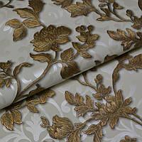 Обои, на стену, винил на флизелине, горячего тиснения, золотые цветы,  71362-12, 1,06х10м