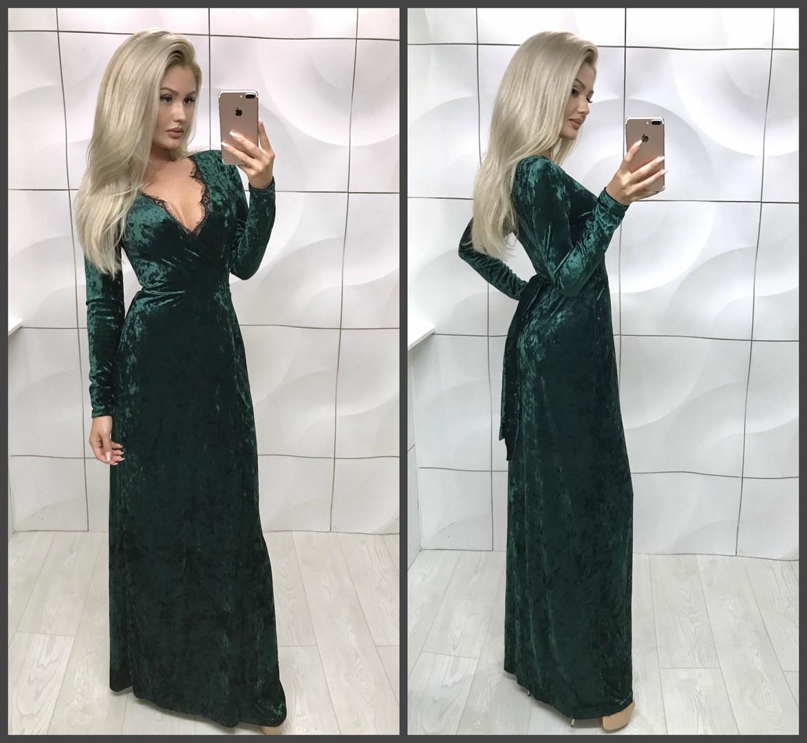 Вечернее платье с запахом в пол, Ментоловый, 46