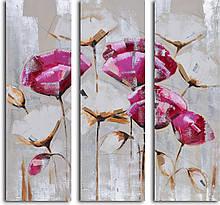 Репродукция модульной картины триптих «Розовые и белые маки»