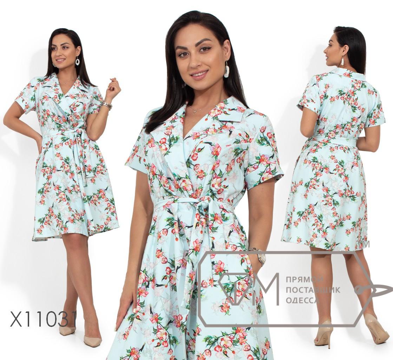 Платье-миди на запах с прямоугольными лацканами и прорезными карманами X11031