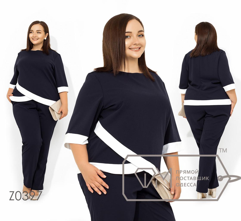 Брючный костюм из креп-дайвинга блуза с контрастными асимметричноми вставками и рукавами 3/4, брюки-палаццо на резинке Z0397