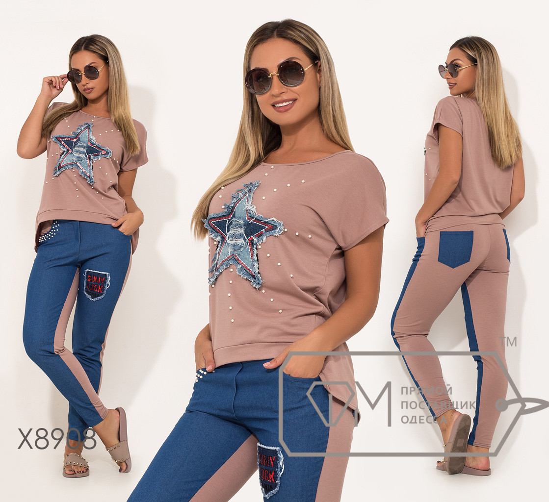 Костюм-двойка из двунитки и джинса с нашивкой-звезда и декорирован жемчужинами на футболке и брюках X8908
