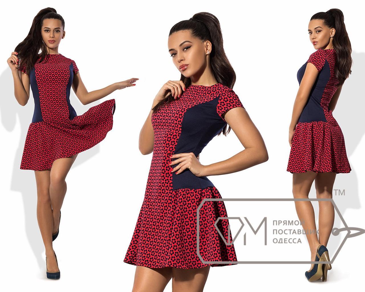 Платье мини в стиле чарльстон из костюмки с заниженной расклешённой юбкой и однотонными боковыми вставками 8596