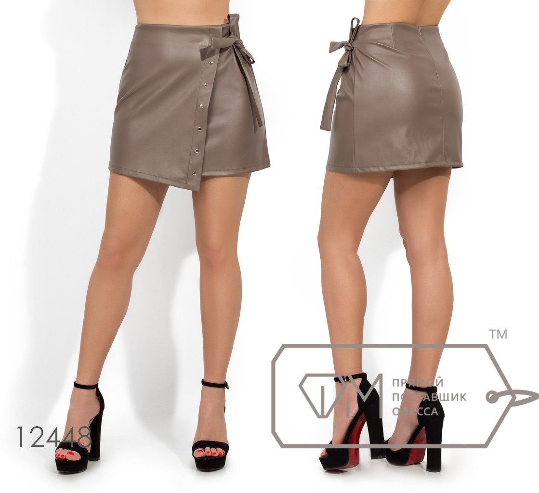 Кожаная короткая юбка с завязкой на поясе и имитацией запаха 12448