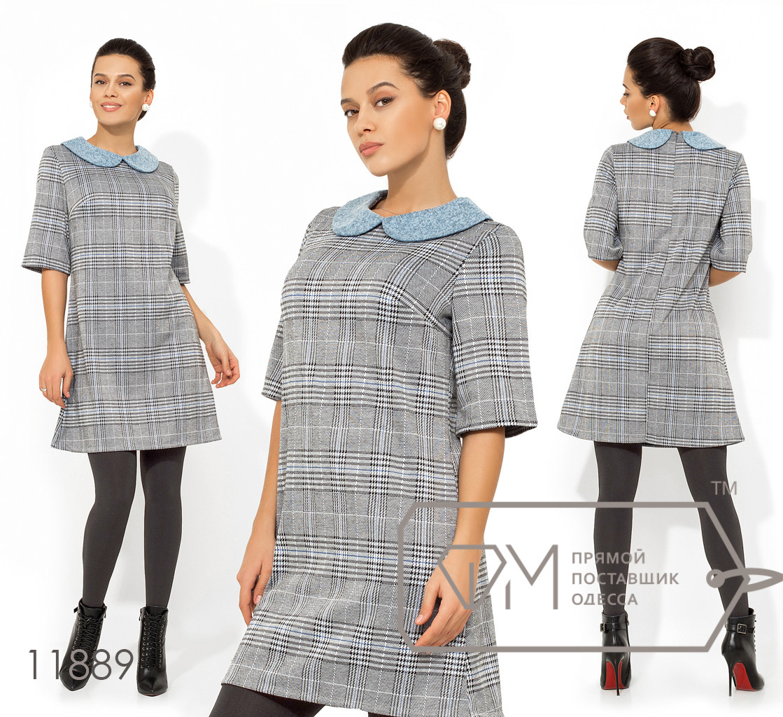 Платье-шифт из трикотажа петля с воротником питер-пен из ангоры софт и рукавами 3/4 11889