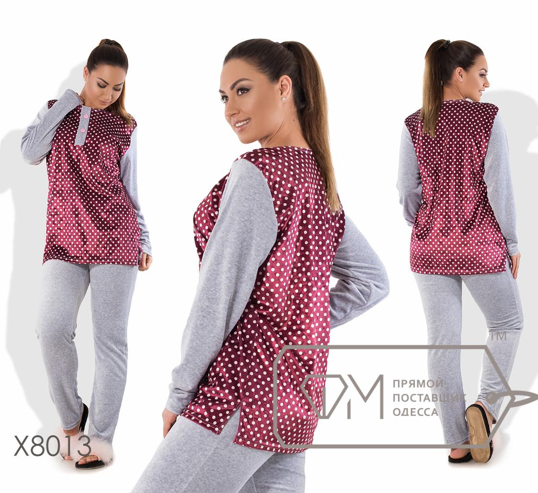 Домашний костюм из велюра - туника с принтованной основой, разрезами по бокам и вырезом на застёжке плюс прямые штаны X8013