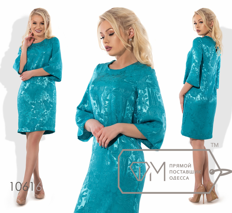 Платье-шифт мини прямое из жаккарда без эластана с рукавами-колокол 3/4 и круглым вырезом 10616