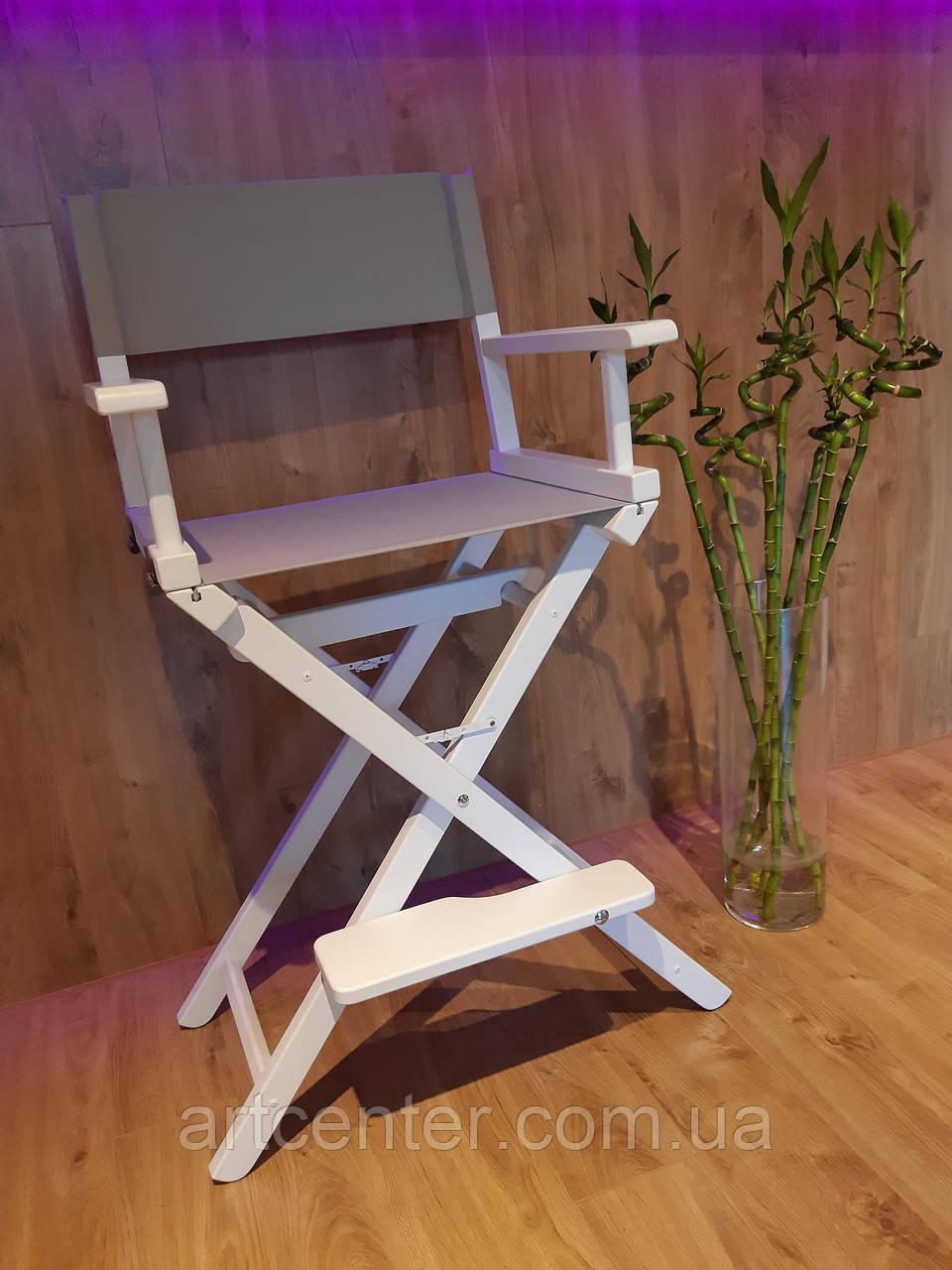 Кресло визажиста из натурального ясеня белого цвета с серой тканью