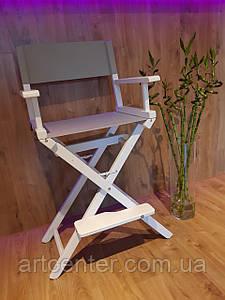Крісло візажиста з натурального ясеня білого кольору з сірою тканиною