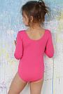 Купальник для танцев и гимнастики с длинным рукавом розовый, фото 2