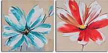 Репродукция модульной картины дииптих «Чирок и красные цветы»
