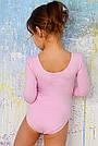 Купальник для танцев и гимнастики с длинным рукавом нежно-розовый, фото 2