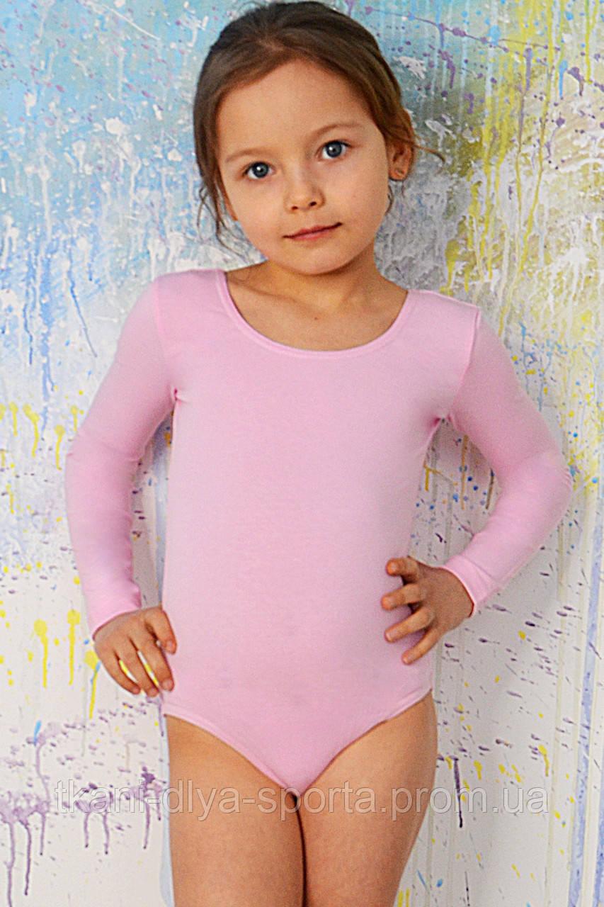 Купальник для танцев и гимнастики с длинным рукавом нежно-розовый