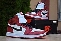 Кроссовки Nike Air Jordan 1 Retro High мужские, бело-черно-красные, в стиле Найк Джордан, код OD-1843
