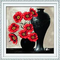 """""""Маки в вазе 2"""" Набор для вышивания нитками на канве с нанесенным рисунком"""