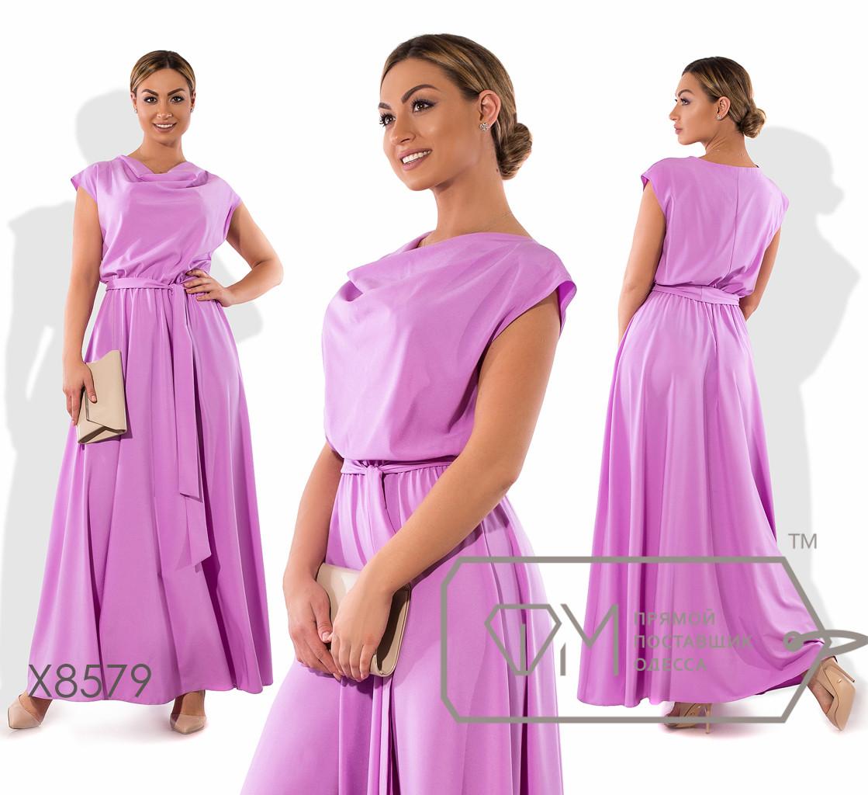 Платье в пол из софта с хомутом, коротким рукавом и резинкой по талии ( ткань просвечивается ) X8579