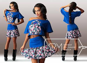 Костюм Матрёшка из дайвинга и джинса - мини-юбка на кокетке и свободная блузка с короткими рукавами Цвет 5154
