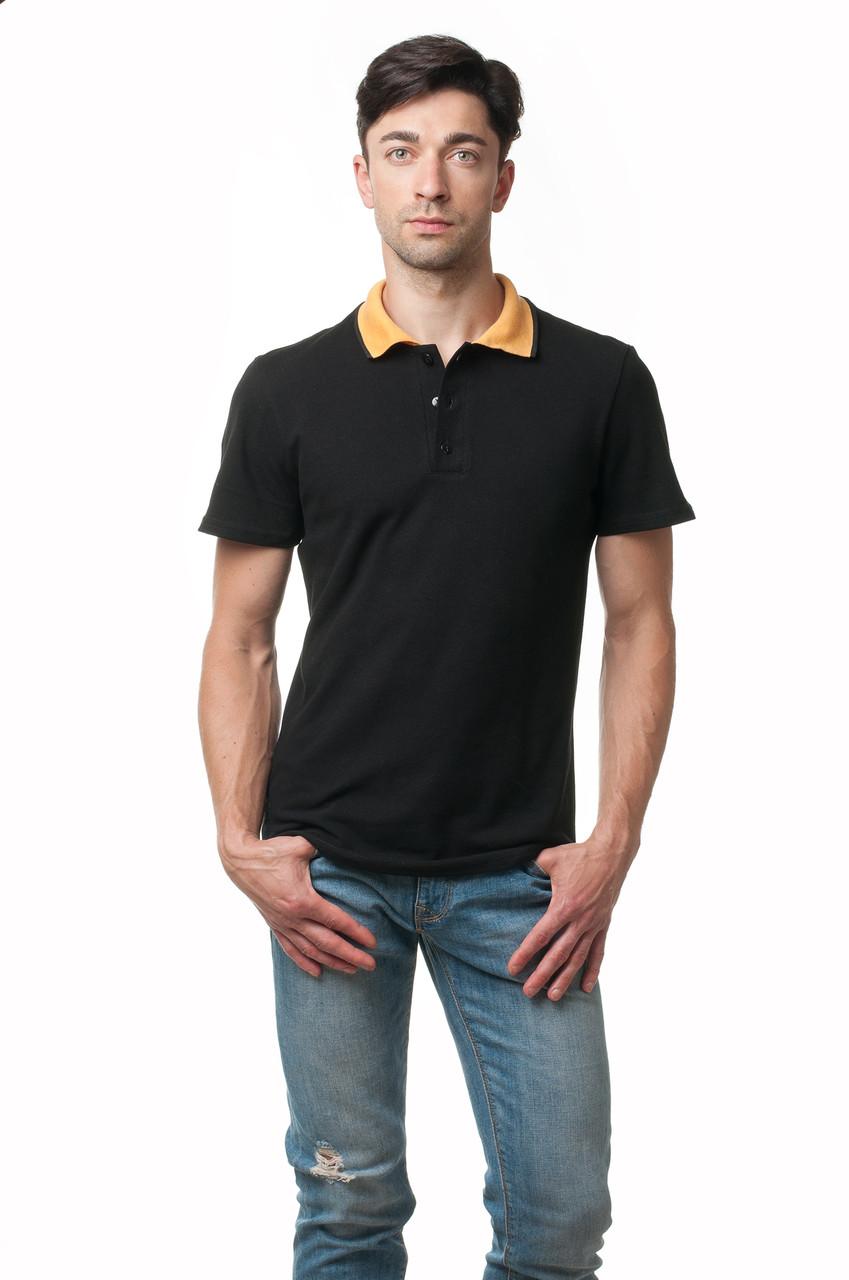 Чоловіча футболка-поло класичного крою з відкладним комірцем контрастного оранжевого кольору, чорна