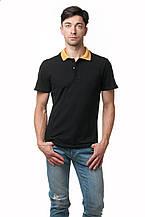 Мужская футболка-поло классического кроя с отложным воротничком контрастного оранжевого цвета, черная