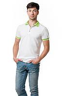 Мужская футболка-поло классического кроя, отложной воротник, манжеты рукавов и пуговки выполнены в салатном цвете, белая