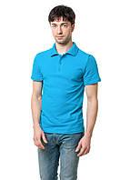 Однотонная мужская футболка-поло классического кроя, бирюзовая