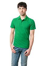 Однотонная мужская футболка-поло классического кроя, цвета зеленой травы