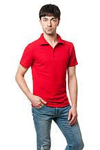 Однотонная мужская футболка-поло классического кроя, красная