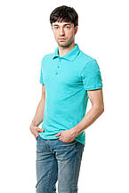 Однотонная мужская футболка-поло классического кроя, оттенок - ментол