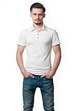 Однотонная мужская футболка-поло классического кроя, светло-бежевая