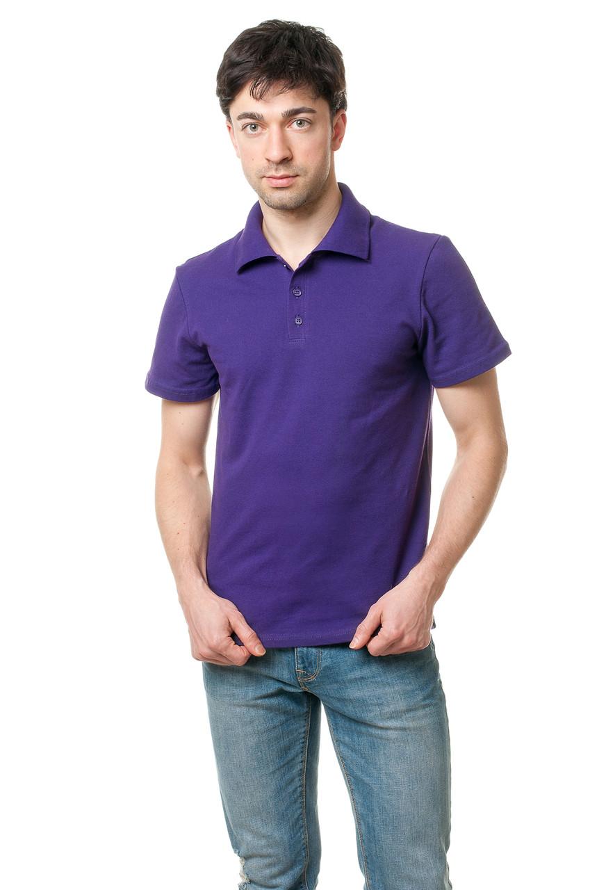 Однотонна чоловіча футболка-поло класичного крою, фіолетова