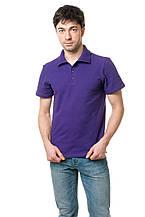Однотонная мужская футболка-поло классического кроя, фиолетовая