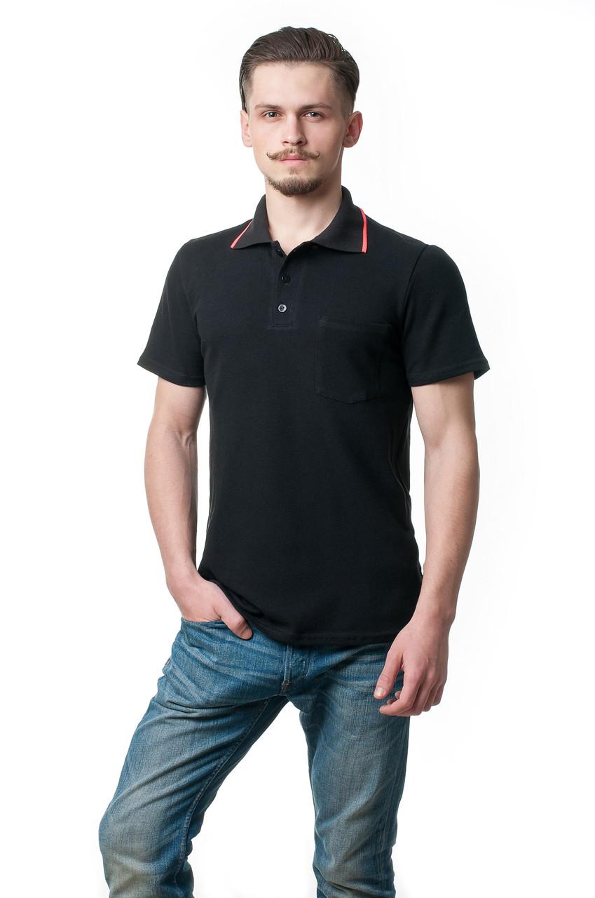 Однотонная мужская футболка-поло классического кроя с небольшим карманом на груди, освежает модель красная полосочка на вороте, черная