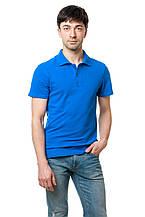 Однотонная мужская футболка-поло классического кроя, цвета электрик