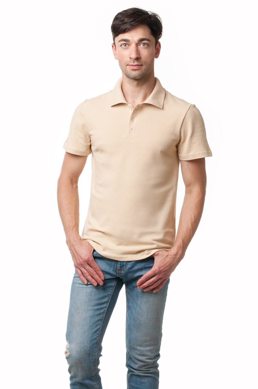 Однотонная мужская футболка-поло классического кроя, бежевая
