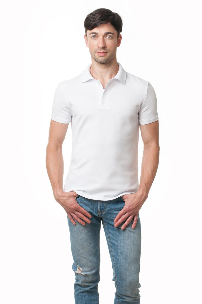 Однотонна чоловіча футболка-поло класичного крою, біла