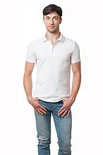 Однотонная мужская футболка-поло классического кроя, белая