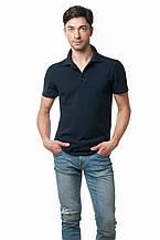Однотонная мужская футболка-поло классического кроя, темно-синяя
