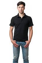 Однотонная мужская футболка-поло классического кроя, черная