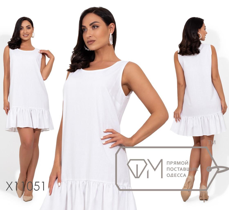 Короткое льняное платье с круглым вырезом и оборкой по подолу X11051