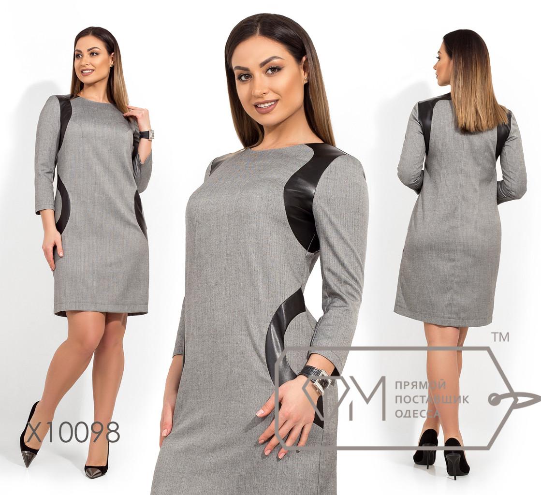Платье-миди прямого кроя из поливискозы с рукавами 3/4 вставками из экокожи и круглым вырезом X10098