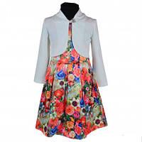 Модное детское платье с цветочным принтом и белым пиджачком KS100