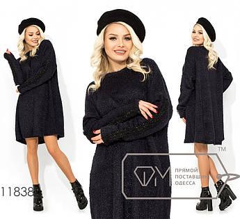 Платье-мешок из вязки-люрекс до колена с круглым вырезом и низко втачным рукавом 11838