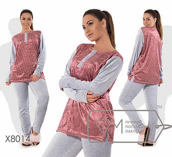 Домашний костюм из велюра - туника с принтованной основой, разрезами по бокам и вырезом на застёжке плюс прямые штаны X8014