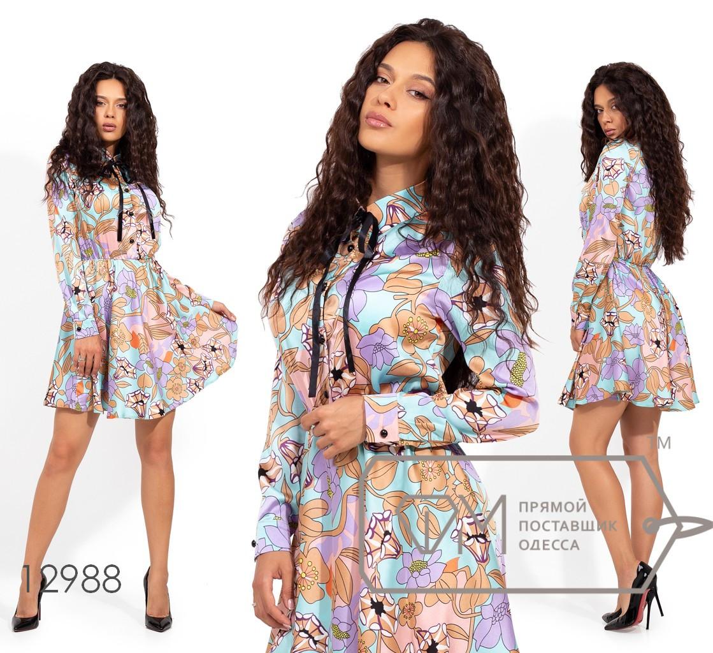 Платье-мини из шелка с ярким принтом, воротником-стойка, застежкой вдоль лифа и резинкой по талии 12988