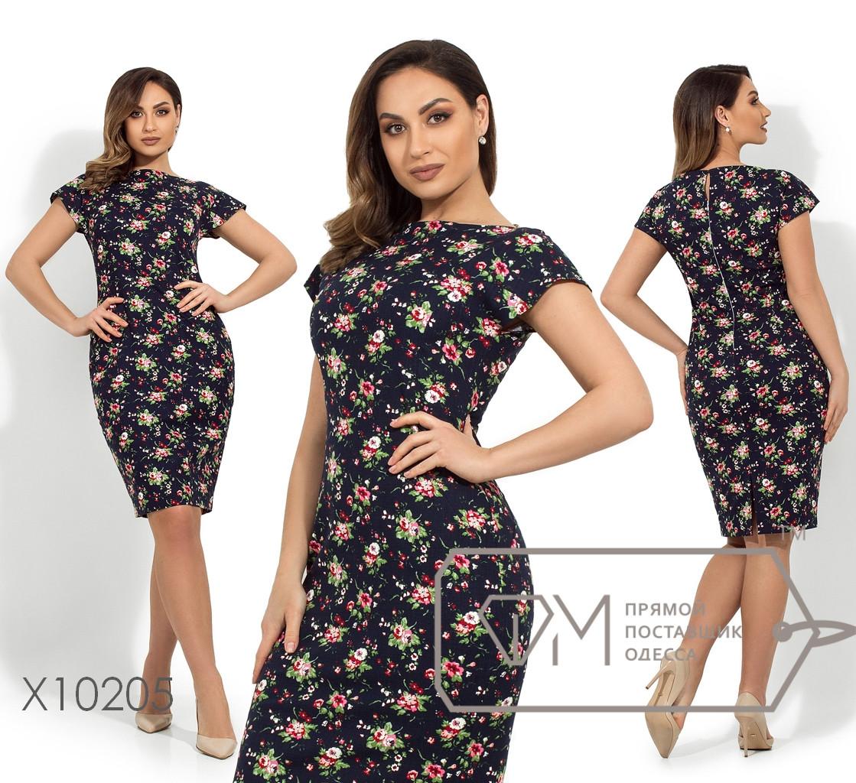 Платье-футляр с цветочным принтом рукавами-крылышками, фигурными вытачками, застежкой капелька и молнией по спинке X10205