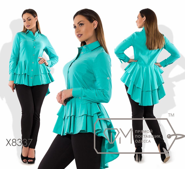 Рубашка бэби-долл приталенная из бенгалина с длинными рукавами и двойной асимметричной оборкой-шлейфом от талии X8337