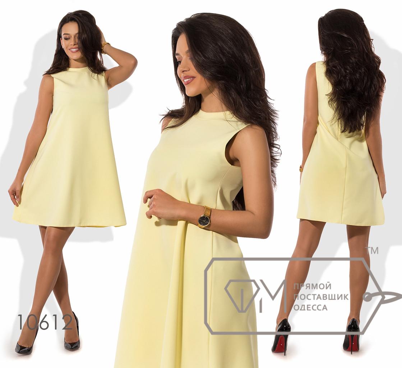 Платье-трапеция мини из креп-костюмки без рукавов с вырезом под шею 10612