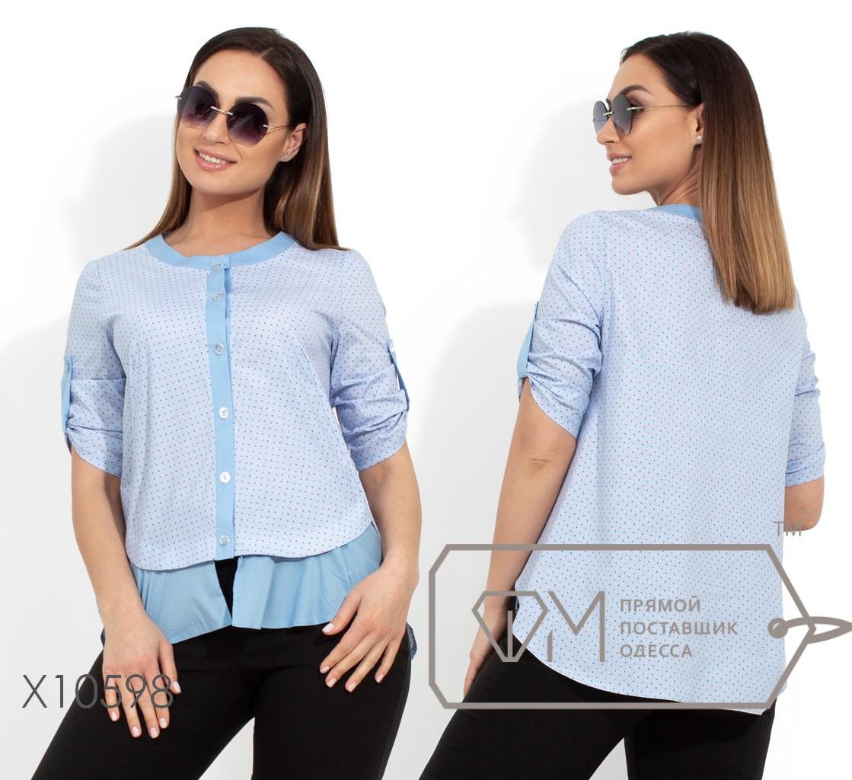 Коттоновая блуза с пуговицами по всей длине и рукавами 3/4 на патиках X10598